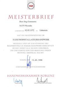 1998.02.13 Gensmann Jörg HWK Koblenz Bescheinigung Meisterbrief Kopie