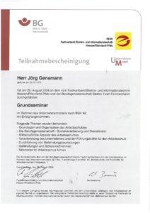 2008.08.25 Gensmann Jörg BG Elektro Textil BGV A2 - Grundseminar Kopie