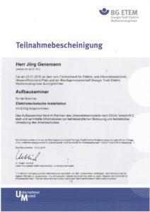 2015.01.23 Gensmann Jörg BG Elektro Textil BGV A2 - Aufbauseminar Kopie