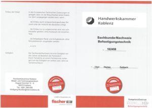 2017.08.29 Feilbach Sachkundenachweis Befestigungstechnik HWK Koblenz Fischer Kopie