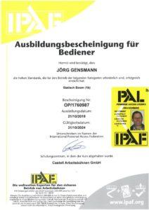 2019.10.21 Gensmann Jörg IPAF Ausbildungsbescheinigung Arbeitsbühnen